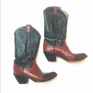 Vintage Tony Lama Western Cowboy Leather Boots
